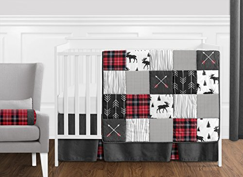 Sweet Jojo Designs Grey Black And Red Woodland Plaid And Arrow Rustic Patch Baby Boy Crib Bedding Set Without Bumper 11 Pieces Flannel Moose Gray 0