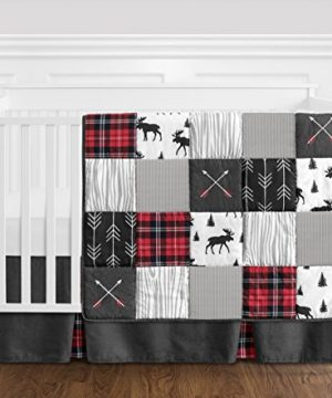 Sweet Jojo Designs Grey Black And Red Woodland Plaid And Arrow Rustic Patch Baby Boy Crib Bedding Set Without Bumper 4 Pieces Flannel Moose Gray 0 300x360
