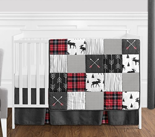 Sweet Jojo Designs Grey Black And Red Woodland Plaid And