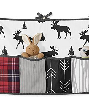 Sweet Jojo Designs Grey Black And Red Woodland Plaid And Arrow Rustic Patch Baby Boy Crib Bedding Set With Bumper 9 Pieces Flannel Moose Gray 0 2 300x350