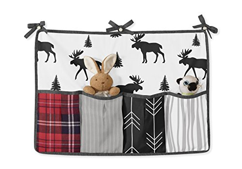 Sweet Jojo Designs Grey Black And Red Woodland Plaid And Arrow Rustic Patch Baby Boy Crib Bedding Set With Bumper 9 Pieces Flannel Moose Gray 0 2