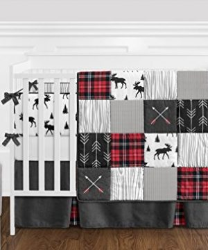 Sweet Jojo Designs Grey Black And Red Woodland Plaid And Arrow Rustic Patch Baby Boy Crib Bedding Set With Bumper 9 Pieces Flannel Moose Gray 0 300x360