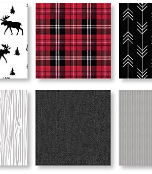 Sweet Jojo Designs Grey Black And Red Woodland Plaid And Arrow Rustic Patch Baby Boy Crib Bedding Set With Bumper 9 Pieces Flannel Moose Gray 0 4 300x342