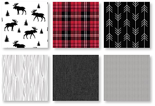 Sweet Jojo Designs Grey Black And Red Woodland Plaid And Arrow Rustic Patch Baby Boy Crib Bedding Set With Bumper 9 Pieces Flannel Moose Gray 0 4