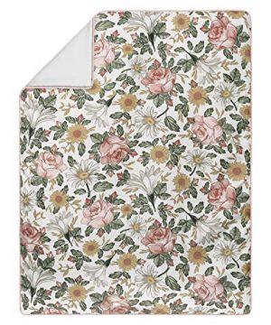 Sweet Jojo Designs Vintage Floral Boho Baby Girl Nursery Crib Bedding Set Without Bumper 11 Pieces Blush Pink Yellow Green And White Shabby Chic Rose Flower Farmhouse 0 1 300x360