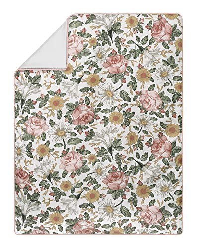 Sweet Jojo Designs Vintage Floral Boho Baby Girl Nursery Crib Bedding Set 4 Pieces Blush Pink Yellow Green And Farmhouse Goals