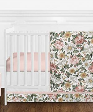 Sweet Jojo Designs Vintage Floral Boho Baby Girl Nursery Crib Bedding Set Without Bumper 11 Pieces Blush Pink Yellow Green And White Shabby Chic Rose Flower Farmhouse 0 300x360