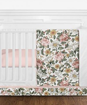 Sweet Jojo Designs Vintage Floral Boho Baby Girl Nursery Crib Bedding Set Without Bumper 4 Pieces Blush Pink Yellow Green And White Shabby Chic Rose Flower Farmhouse 0 300x360