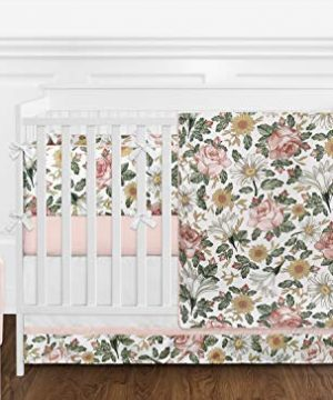 Sweet Jojo Designs Vintage Floral Boho Baby Girl Nursery Crib Bedding Set With Bumper 9 Pieces Blush Pink Yellow Green And White Shabby Chic Rose Flower Farmhouse 0 300x360
