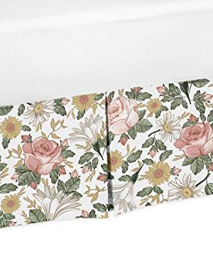 Sweet Jojo Designs Vintage Floral Boho Girl Pleated Baby Nursery Crib Bed Skirt Dust Ruffle Blush Pink Yellow Green And White Shabby Chic Rose Flower Farmhouse 0 300x357
