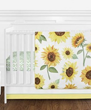 Sweet Jojo Designs Yellow Green And White Sunflower Boho Floral Baby Girl Nursery Crib Bedding Set Without Bumper 11 Pieces Farmhouse Watercolor Flower 0 300x360