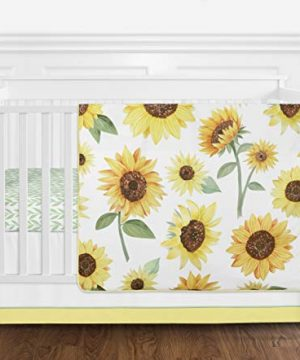 Sweet Jojo Designs Yellow Green And White Sunflower Boho Floral Baby Girl Nursery Crib Bedding Set Without Bumper 4 Pieces Farmhouse Watercolor Flower 0 300x360
