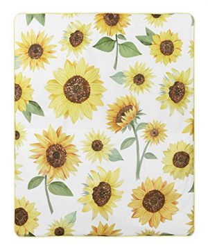 Sweet Jojo Designs Yellow Green And White Sunflower Boho Floral Baby Girl Nursery Crib Bedding Set With Bumper 9 Pieces Farmhouse Watercolor Flower 0 2 300x360