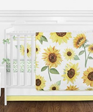 Sweet Jojo Designs Yellow Green And White Sunflower Boho Floral Baby Girl Nursery Crib Bedding Set With Bumper 9 Pieces Farmhouse Watercolor Flower 0 300x360