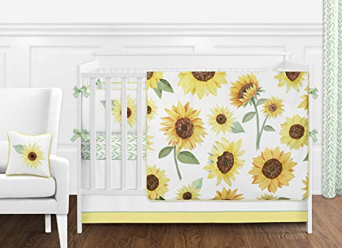 Sweet Jojo Designs Yellow Green And White Sunflower Boho Floral Baby Girl Nursery Crib Bedding Set With Bumper 9 Pieces Farmhouse Watercolor Flower 0