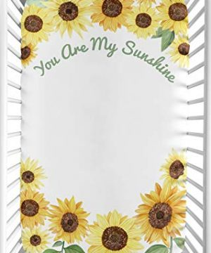 Sweet Jojo Designs Yellow Green And White Sunflower Boho Floral Girl Baby Nursery Fitted Mini Portable Crib Sheet For Mini Crib Or Pack And Play ONLY Farmhouse Watercolor Flower You Are My Sunshine 0 300x360