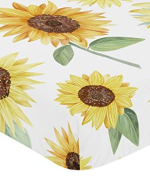 Sweet Jojo Designs Yellow Green And White Sunflower Boho Floral Girl Baby Or Toddler Nursery Fitted Crib Sheet Farmhouse Watercolor Flower 0 0 300x360