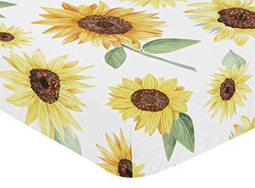 Sweet Jojo Designs Yellow Green And White Sunflower Boho Floral Girl Baby Or Toddler Nursery Fitted Crib Sheet Farmhouse Watercolor Flower 0 0