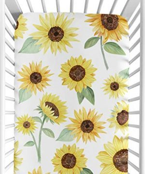 Sweet Jojo Designs Yellow Green And White Sunflower Boho Floral Girl Baby Or Toddler Nursery Fitted Crib Sheet Farmhouse Watercolor Flower 0 300x360