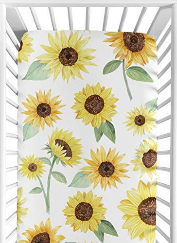 Sweet Jojo Designs Yellow Green And White Sunflower Boho Floral Girl Baby Or Toddler Nursery Fitted Crib Sheet Farmhouse Watercolor Flower 0