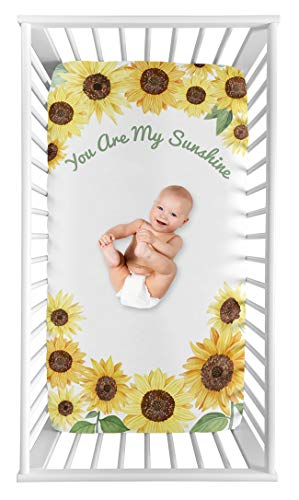 Sweet Jojo Designs Yellow Green And White Sunflower Boho Floral Girl Baby Or Toddler Nursery Fitted Crib Sheet Farmhouse Watercolor Flower You Are My Sunshine 0