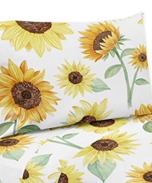Sweet Jojo Designs Yellow Green And White Sunflower Boho Floral Queen Sheet Set 4 Piece Set Farmhouse Watercolor Flower 0 300x360