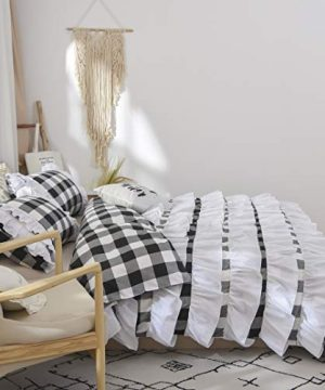 TEALP Buffalo Bridal Beddings Rustic Shabby Decor Chic Duvet Cover Country Style Home Decor With Plaid Ruffles Pillow Gingham Shams FarmhouseBlack And WhiteTwin XL 0 0 300x360