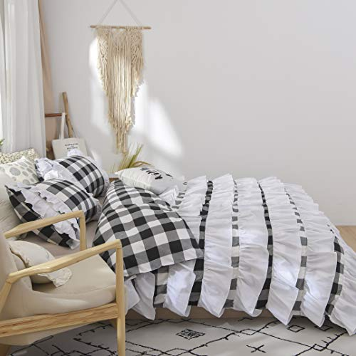 TEALP Buffalo Bridal Beddings Rustic Shabby Decor Chic Duvet Cover Country Style Home Decor With Plaid Ruffles Pillow Gingham Shams FarmhouseBlack And WhiteTwin XL 0 0