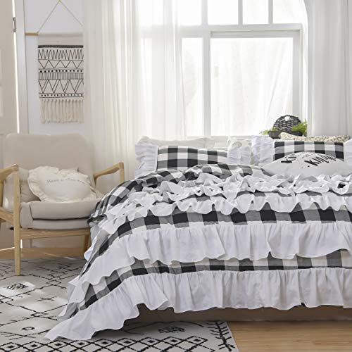 TEALP Buffalo Bridal Beddings Rustic Shabby Decor Chic Duvet Cover Country Style Home Decor With Plaid Ruffles Pillow Gingham Shams FarmhouseBlack And WhiteTwin XL 0 1