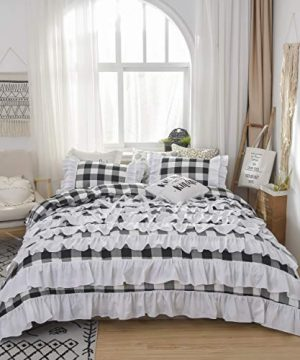 TEALP Buffalo Bridal Beddings Rustic Shabby Decor Chic Duvet Cover Country Style Home Decor With Plaid Ruffles Pillow Gingham Shams FarmhouseBlack And WhiteTwin XL 0 2 300x360