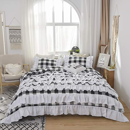 TEALP Buffalo Bridal Beddings Rustic Shabby Decor Chic Duvet Cover Country Style Home Decor With Plaid Ruffles Pillow Gingham Shams FarmhouseBlack And WhiteTwin XL 0 2