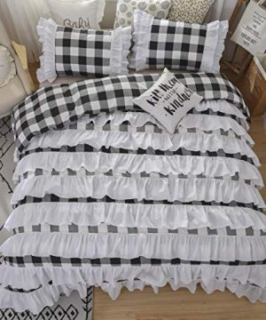 TEALP Buffalo Bridal Beddings Rustic Shabby Decor Chic Duvet Cover Country Style Home Decor With Plaid Ruffles Pillow Gingham Shams FarmhouseBlack And WhiteTwin XL 0 300x360