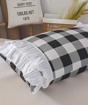 TEALP Buffalo Bridal Beddings Rustic Shabby Decor Chic Duvet Cover Country Style Home Decor With Plaid Ruffles Pillow Gingham Shams FarmhouseBlack And WhiteTwin XL 0 4 300x360