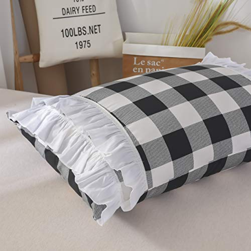 TEALP Buffalo Bridal Beddings Rustic Shabby Decor Chic Duvet Cover Country Style Home Decor With Plaid Ruffles Pillow Gingham Shams FarmhouseBlack And WhiteTwin XL 0 4