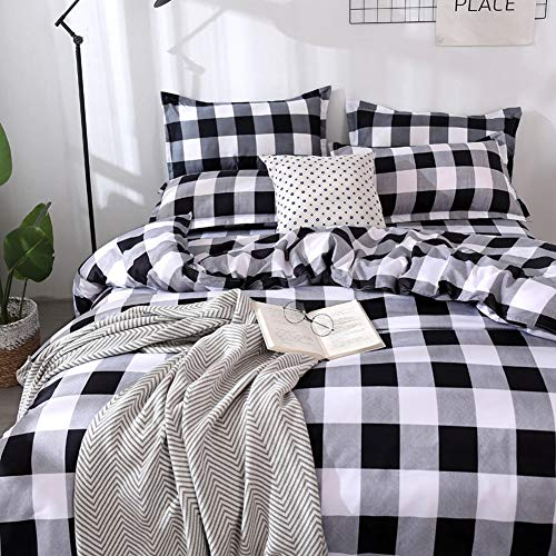TEALP Buffalo Plaid Bedding Set Queen Size Farmhouse Duvet Cover Set No Comforter No Bed Sheet Queen Black And White 0 0