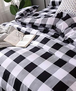 TEALP Buffalo Plaid Bedding Set Queen Size Farmhouse Duvet Cover Set No Comforter No Bed Sheet Queen Black And White 0 1 300x360