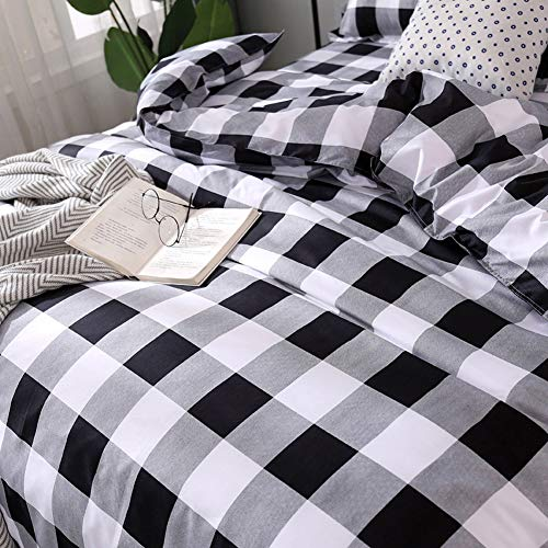 TEALP Buffalo Plaid Bedding Set Queen Size Farmhouse Duvet Cover Set No Comforter No Bed Sheet Queen Black And White 0 1