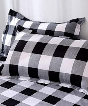 TEALP Buffalo Plaid Bedding Set Queen Size Farmhouse Duvet Cover Set No Comforter No Bed Sheet Queen Black And White 0 2 300x360