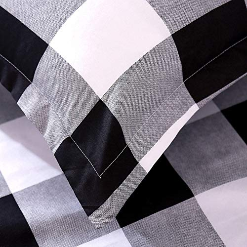 TEALP Buffalo Plaid Bedding Set Queen Size Farmhouse Duvet Cover Set No Comforter No Bed Sheet Queen Black And White 0 3