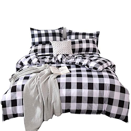 TEALP Buffalo Plaid Bedding Set Queen Size Farmhouse Duvet Cover Set No Comforter No Bed Sheet Queen Black And White 0
