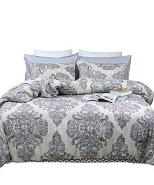 TEALP Queen Duvet Cover Bohemian Paisley Printed Bedding With Zipper Ties 1 Duvet Cover 2 Pillowcases Hypoallergenic Soft Brushed Microfiber Down Comforter Quilt Bedding Covers 90x90 Inch Boho Grey 0 300x360