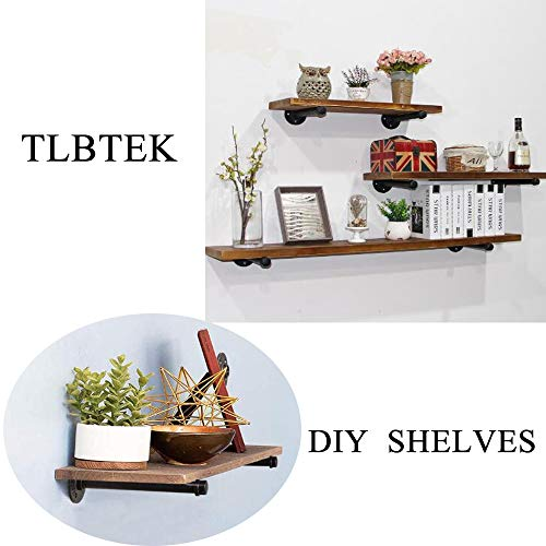 TLBTEK 4 Pcs 10inch Rustic Pipe Decor Industrial Shelf BracketsVintage Industrial Steel Grey Iron Fittings Flanges Pipes Furniture Decorations Hanging Wall Mounted DIY Furniture Decorations Shelves 0 1