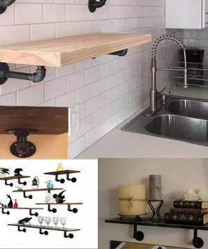 TLBTEK 6pcs 6 Inch L Industrial Black Pipe Bracket Wall Mounted For Shelving Heavy DutyWrought Iron Metal Rustic Pipe Shelf Brackets For Custom Floating Shelves Vintage Furniture Decorations 0 3 300x360