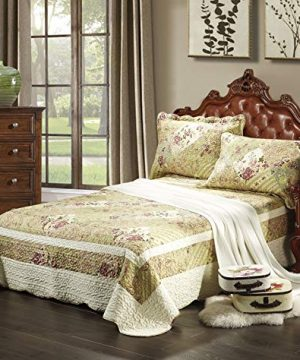 Tache 3 Piece Country Floral Forest Cottage Reversible Patchwork Quilted Bedspread Quilt Set Queen Size 0 300x360