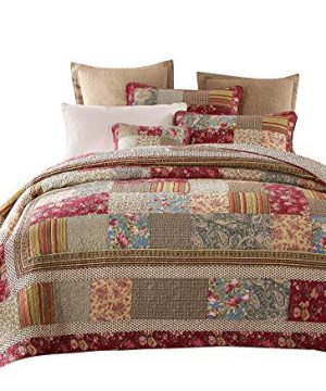 Tache Cotton Charming Fairytale Tea Party Floral Patchwork Reversible Quilt Bedspread Set Cal King 0 300x360
