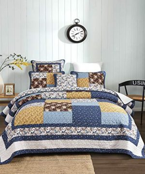 Tache Prairie Garden Sunset Floral Blue Yellow Farmhouse Cotton Patchwork Quilt Bedspread Set King 0 0 300x360