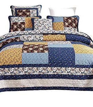 Tache Prairie Garden Sunset Floral Blue Yellow Farmhouse Cotton Patchwork Quilt Bedspread Set King 0 300x344