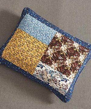 Tache Prairie Garden Sunset Floral Blue Yellow Farmhouse Cotton Patchwork Quilt Bedspread Set King 0 5 300x360