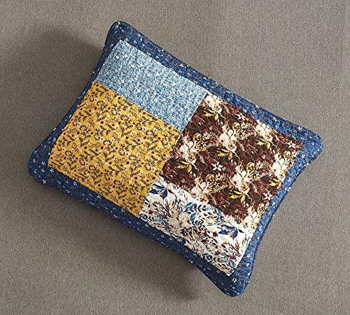 Tache Prairie Garden Sunset Floral Blue Yellow Farmhouse Cotton Patchwork Quilt Bedspread Set King 0 5