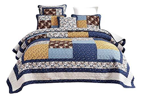 Tache Prairie Garden Sunset Floral Blue Yellow Farmhouse Cotton Patchwork Quilt Bedspread Set King 0